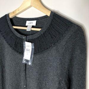 NWT ANN TAYLOR LOFT Ruffle Gray Cardigan Sweater